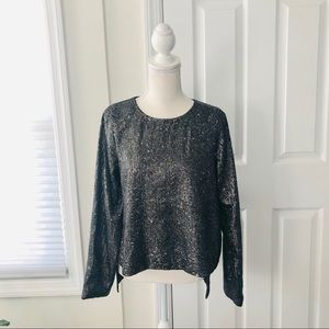 Lovers Friends Grey Gunmetal Sequin Hi Low Blouse